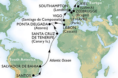 29 Night Brazil To Northern Europe